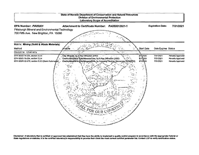 State of Nevada Dept of Conservation and Natural Resources Certificate